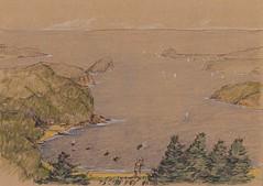 Imagine being a Kite (panda1.grafix) Tags: patonga brisbanewaters darkcorner pencilinkwash seascape landscape sketch