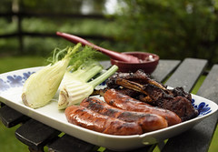 Plate with grilled food (loj5407) Tags: plate grilled sausages ribs fennel summer green piece meal meat roasted spareribs brown barbecue food outdoors table marinated prepared tasty bone