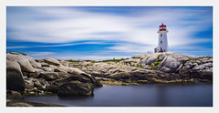 Peggys Cove Lighthouse (fernandobrandaodebraga) Tags: sonya6000 sigmaart canada eastcost landscapephotography color panoramic ocean water clouds reflection lighthouse rocks people novascotia peggyscove 1yearanniversary vacation roadtrip