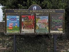 streets of worthing (maximorgana) Tags: worthing notice board poster peppapig peppa pig theglennmillerorchestra glennmiller thegiantslooroll looroll hogwallops trashbit derelict