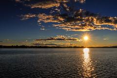 The sun sets over Lule river [Explored 2016-08-19] (kaffealskare) Tags: sunset solnedgng solstrlar sunbeams water vatten lv river clouds moln sky himmel colorful sweden sverige avan