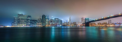 Foggy City (Photos By RM) Tags: panorama panoramic newyork nyc manhattan brooklynbridge newyorkcity newyorkny view foggy longexposure colors sunset night water sky skyscrapers skyline panoramicview canon