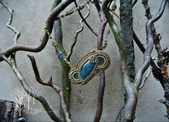 fern's dreams_5 (~Gilven~) Tags: bead beads beading beadembroidery naturalleather necklace pendant japanesebeads jewelry jewelryfindingsbyannachernykh apatite czechbeads blue green gold fern foggyforest forest