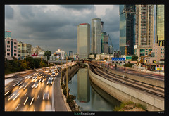 Azrieli Morning Reflection (Ilan Shacham) Tags: architecture telaviv israel tower reflection cityscape view scenic towers water river traffic flowing clouds drama fineart fineartphotography