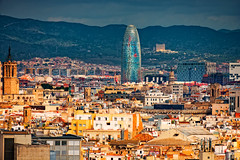 Torre Agbar, tower in Barcelona, Spain (CamelKW) Tags: torreagbar tower barcelona spain catalonia