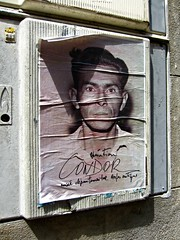 (AmyEAnderson) Tags: outdoor poster man face wrinkled writing arles france provence bouchesdurhone texture