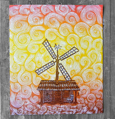 "The Four Elements: Air / ""WINDMILL"" (Tugboat Printshop) Tags: print printmaking blockprint th woodcut woodblock reliefprint thefourelements woodcutprint theelements originalprints paulroden tugboatprintshop contemporaryprintmaking traditionalprintmaking valerielueth woodcutprintmaking pittsburghartists woodblockprintmaking pittsburghprintmaking affordableartprints colorblockprint colorwoodcutprints colorwoodcutprintsforsale originalwoodcuts originalreliefprint airearthwaterfire"
