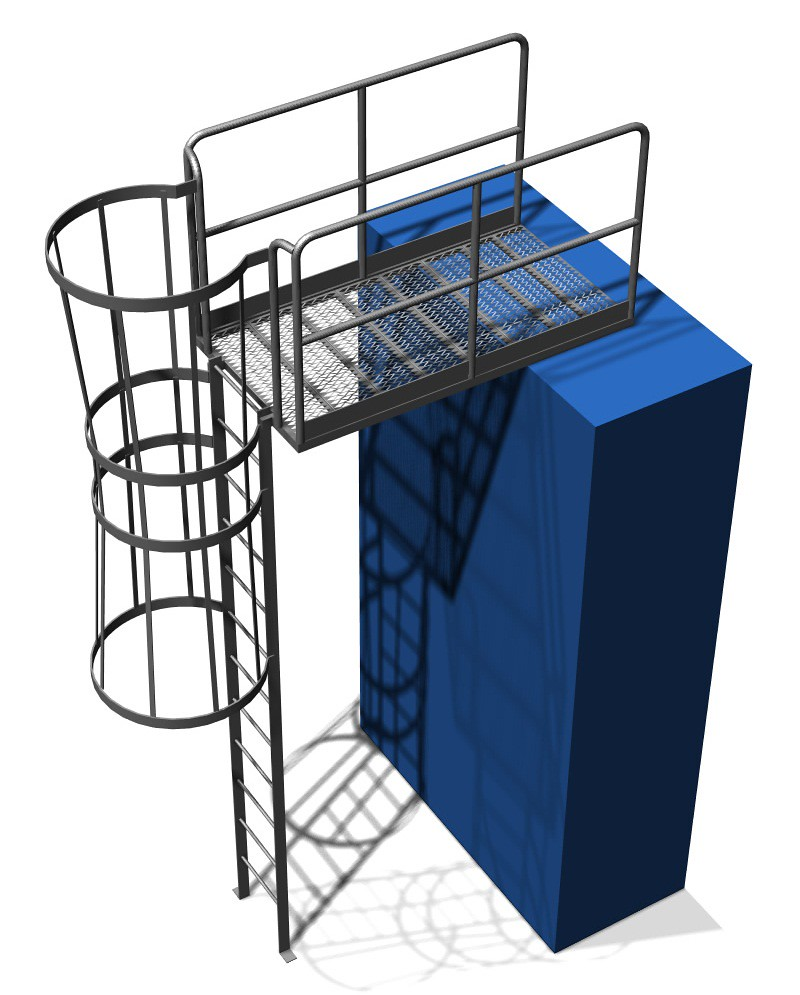 Caged Ladder with Exit Platform