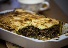 Last Nights Meat Pie (George Alexander Ishida Newman) Tags: food brown beer vegetables pie dish gravy meat pastry glazing