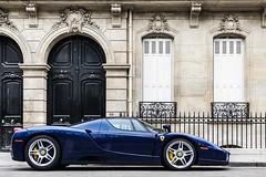 Ferrari Enzo (Valkarth) Tags: blue paris france yellow canon eos europe blu ferrari spot bleu enzo rue 2008 scuderia spotting pozzi caliper rotshild elyse 40d