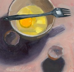 Egg Under Easy (dewartist) Tags: life art 6x6 still marine raw egg fork bowl daily workshop painter carol