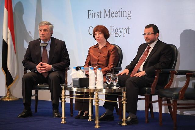 EU Commissioner Tajani, EU High Representative Catherine Ashton & Prime Minister of Egypt Hesham Kandeel