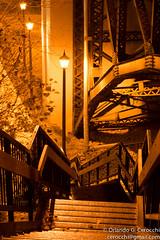 Stairway to Wonderland (Cerocchi) Tags: bridge shadow iron stair columns stairway
