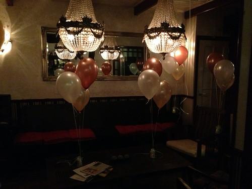 Tafeldecoratie 3ballonnen Zalm, Wit, Koper Food & Drinks Zuidland