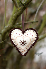 Heart shaped felt ornaments (4) (ShapeMoth) Tags: christmas brown cookie heart chocolate crochet gingerbread cream felt ornament shapemoth
