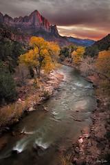 the watchman ([Adam Baker]) Tags: autumn sunset southwest canon river landscape utah nationalpark icon virgin zion watchman 24105l adambaker 5dmkii