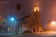 Crown of Church (Lucas Janin | www.lucasjanin.com) Tags: california street city longexposure blue light red orange usa plant color building tree green church yellow fog night plante iso200 losangeles nikon lumire vert palm f90 flare 24mm nikkor nuit arbre brouillard eglise couleur ville palmier altadena lightroom longueexposition 50sec nikond700 lucasjanin afsnikkor2470mmf28ged lightroom4