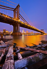 Big Apple Icons, Old and New (chris lazzery) Tags: newyorkcity newyork manhattan worldtradecenter brooklynbridge manhattanbridge bluehour brooklynbridgepark canonef14mmf28lii 5dmarkii oneworldtradecenter