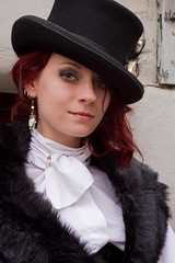 7D0012b Beautiful Red Haired Lady in Black Top Hat - Whitby Goth Weekend 3rd Nov 2012 (gemini2546) Tags: nov neck goth week 3rd black red 2470 canon sigma high hair beautiful 7d lens lady hat blouse fur whitby 2012 victorian stole