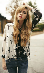 Double sided (katie ruthh) Tags: blackandwhite me girl fashion self bokeh crosses style blouse blonde tall