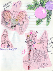 Xmas sketchbook 2012 (Andrea Kett) Tags: witch gingerbread christmasdecorations gingerbreadhouse candycane broomstick baubles wickedwitch gingerbreadwitch andreakett