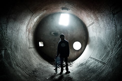 The Wall Was To Hide, As You Can See (Mike Shaheen) Tags: old light urban abandoned water strange silhouette metal dark way underground rust skateboarding room under pipe deep rusty ground tunnel eerie creepy full hidden adobe skate trespass skateboard spill element trespassing tunnell lightroom spillway fullpipe