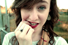 Red (Hannah <3) Tags: red white green girl earings scarf hair gold eyes lips ring redlips bangs