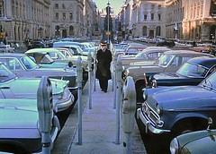 1961 Parking Meters Are Here.......... (colinfpickett) Tags: old man london cars parking memories meter 1960s daysgone