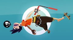 angry ninja dude backflip attack (kynu) Tags: illustration ninja stupid vector nunchaku pointyhair