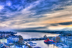 Lake Zurich - Zurich Switzerland in HDR (mbell1975) Tags: lake water river schweiz switzerland europe day suisse cloudy swiss zurich zürich svizzera hdr züri zürichsee limmat zürisee cantonofzurich ilobsterit