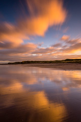 Winter sunset (Jonathan Combe (Thank you for 400,000 views!)) Tags: longexposure sunset sky reflection beach clouds movement sand colours cloudy dunes sigma northumberland northsea leefilters cocklawburnbeach