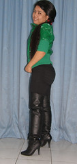 Mistletoe (johnerly03) Tags: black green leather hair asian long boots philippines thigh jacket filipina pvc erly