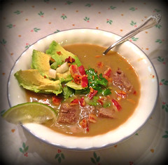 Carne de su jugo (BCalico) Tags: chicago dinner de table soup avocado bacon phone beef tasty spoon pic bowl mexican homemade garlic su onion lime carne vignetting cilantro tomatillo jugo nom soupson