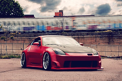 Nissan 350z (Evano Gucciardo) Tags: light newyork motion art japan clouds train nikon nissan natural low wheels style automotive sharp rochester commercial static mean tuner aggressive rims tones 350z jdm slammed stance legit d90 autoart fitment ingz workwheels canibeat