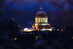 Snowy Capitol Building Just before Dawn (Paul T. Marsh/PositivePaul) Tags: winter snow color capital olympia capitolbuilding fujis3pro lightroom3 tumwaterhill wwwpaulmphotographycom paulmarshphotography tokina300mmf28