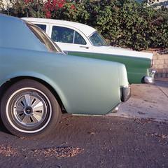 Middle aged Fords (ADMurr) Tags: la silver lake rolleiflex fuji chrome slide film square 6x6
