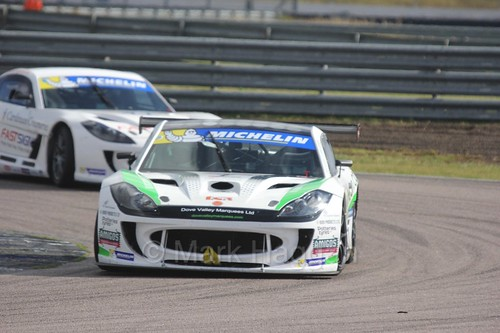 Callum Pointon in the Ginetta GT4 Supercup at Rockingham, August 2016