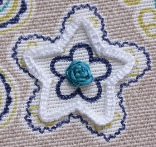 Buttonholed herringbone & raised cross stitch