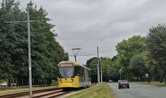 Manchester Metrolink 3008 heads for Manchester Airport on driver training duties, 2nd. August 2016. (Crewcastrian) Tags: manchester metrolink 3008 trams transport