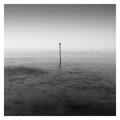 Gone Spear Fishing (picturedevon.co.uk) Tags: preston paignton beach torbay englishriviera devon england uk bw blackandwhite seascape fineart minimal le longexposure mono sea fog mist seagull coastal seaside waves