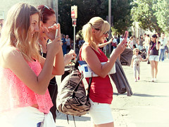 Mobile maniacs (max tuguese) Tags: mobile woman girl street sunlight ladies sony maxtuguese color streetlife people debrecen