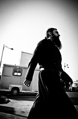 Priest (stimpsonjake) Tags: nikoncoolpixa 185mm streetphotography bucharest romania city candid blackandwhite bw monochrome priest robe beard man silhouette