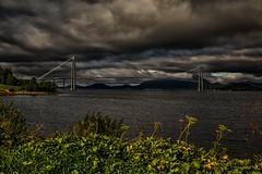 Gjemnessund Bridge (jforberg) Tags: 2016 bridges norway noregia norwegian norwegen norge water waterfront gree green sky cloudy cloud big car road
