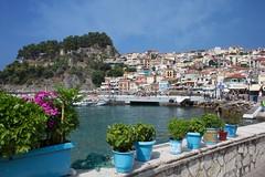 Parga - Greece (massonth) Tags: caonon eos60d parga greece epirus grece boat flower basil leaf sea ionian house village fishing green blue orange sky
