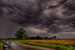 Looks like i'm going to get wet again. (bainebiker) Tags: motorcycle storm turbulentweather farmland road field farmhouse sky stormbrewing hdr canonef24mmf14liiusm spalding lincolnshire uk