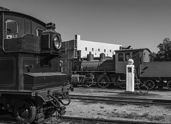 Scene from the trainyard. (klevsand) Tags: train railroad locomotive steam esso setesdalsbanen duo colour color railway norway setesdal banen nsb black white