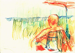 PROYECTO 132-63 (GARGABLE) Tags: angelbeltrn apuntes sketch lpicesdecolores drawings proyecto 132 64 todo varios variado dibujos gargable playa gente siesta sanjuan
