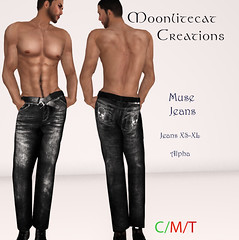 Muse Jeans Ad Pic (moonlitecat) Tags: hunt your inner slut moonlitecat creation mesh slink belleze maitreya fimesh rigged high heel collar gacha spikes leather punk skirt haltertop halter top laced vest mens men women womens moon moonlite hudded texture change