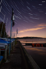 (drfugo) Tags: longexposure autumn sky cloud mist lake cold reflection tree texture water fog plane stars concrete star sussex countryside boat yacht flag jetty reservoir chain trail sail mast bollard gatwick dingy ardingly nearlyfellin sigma28mmf18exdg canon5dmkii