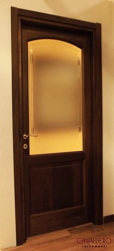 Porta interna archetto con vetro satinato bronzo inciso